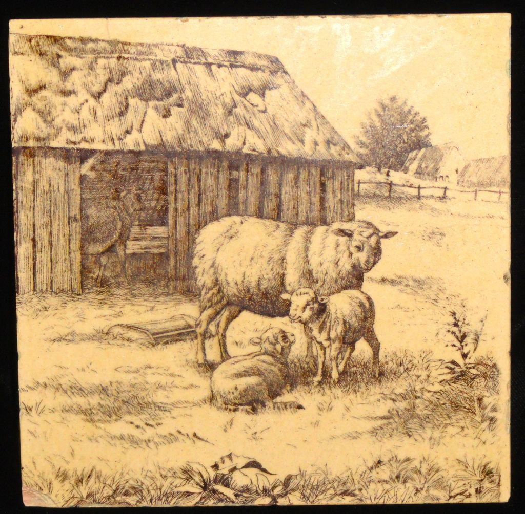 Signed Minton Tile ~ Wm Wise Farm ~ Sheep & Lambs 1879