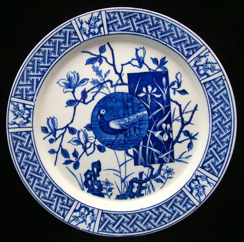Blue Transferware Victorian Plate ~ PHEASANT 1880