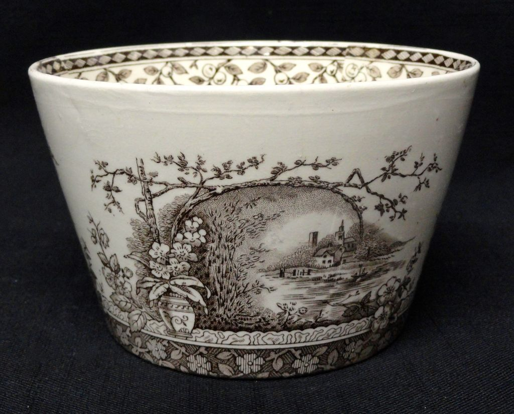 Rare Brown Transferware Waste Tea Bowl ~ RUSTIC 1886
