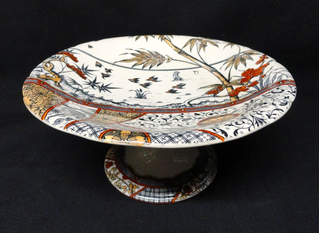 English Aesthetic Movement Polychrome Compote ~ MELBOURNE 1883