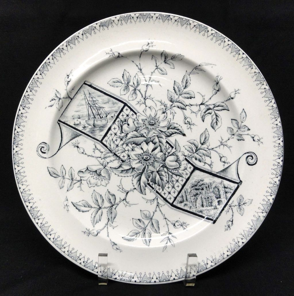 Victorian Aesthetic Blue Transferware Plate ~ Wild Roses & SAILING SHIP 1886