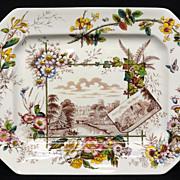 Brown Transferware English Views THANKSGIVING Platter ~  ANGLAIS 1883