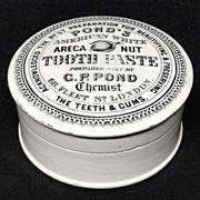 Rare Areca Nut Quack Medicine Tooth Paste Pot and Lid 1885