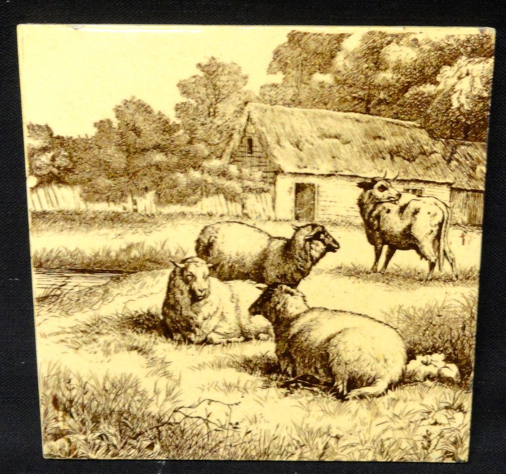 Minton Tile ~ Wm Wise Farm ~ Sheep & Cow 1879