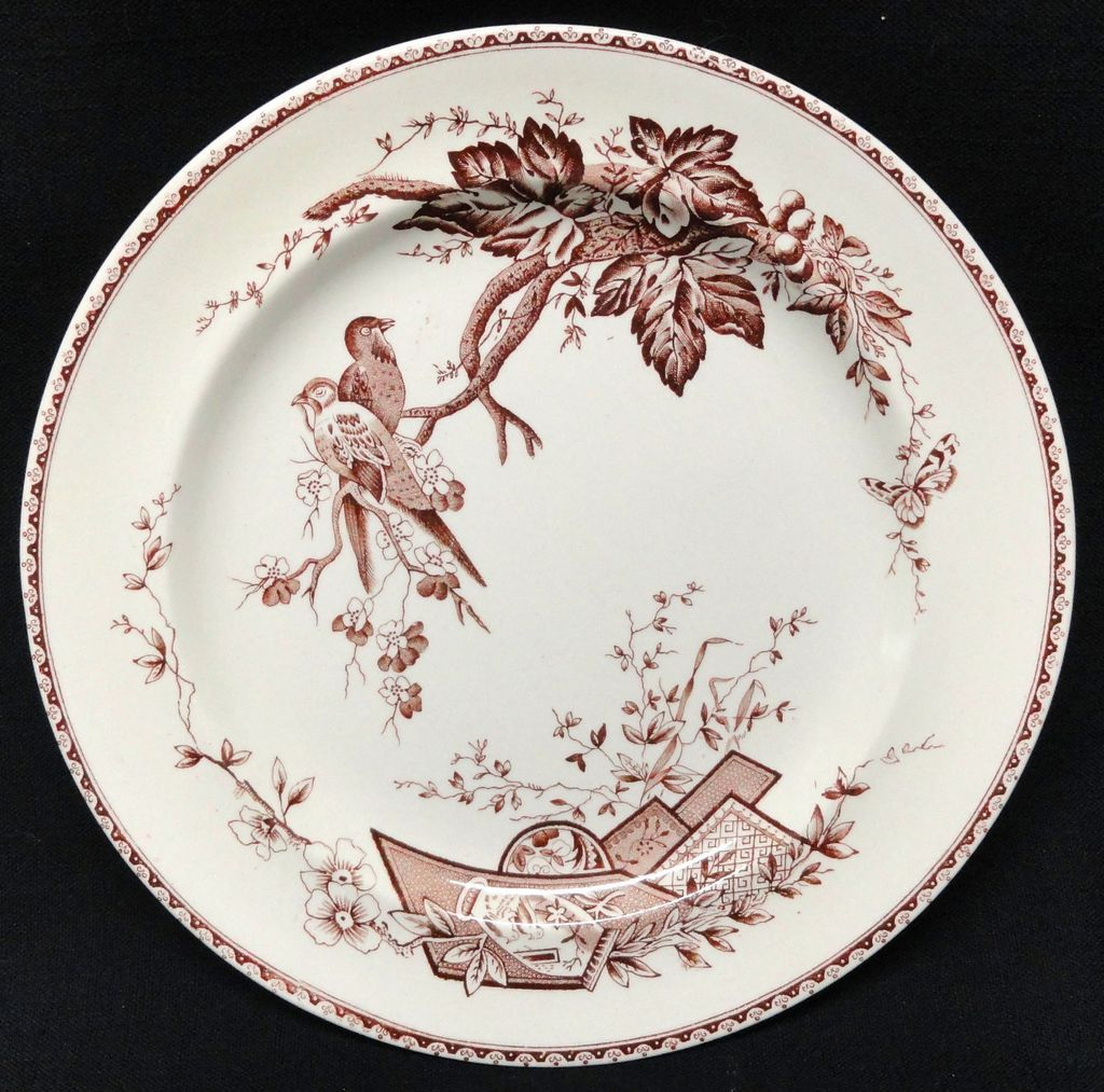 English Victorian Aesthetic Movement Plate ~ LOVEBIRDS 1884
