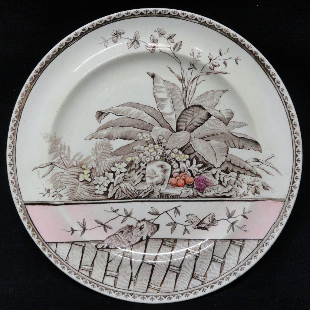 Polychrome Aesthetic BROWN Transferware Plate ~ BRAZIL 1885