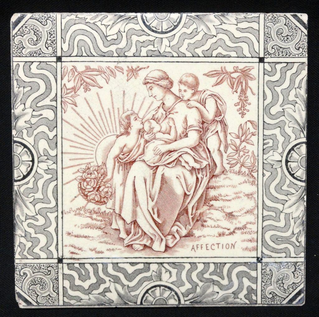 Antique English Tile ~ AFFECTION 1880