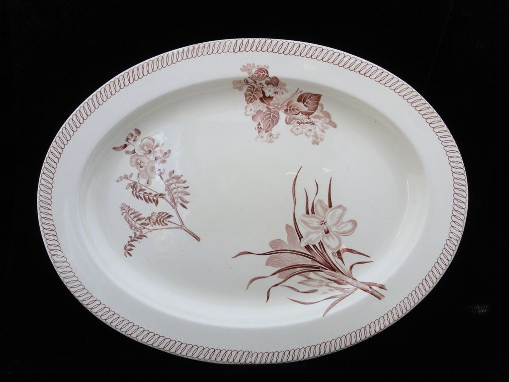 Large Wedgwood BOTANICAL Creamware Transferware Platter ~ 1878