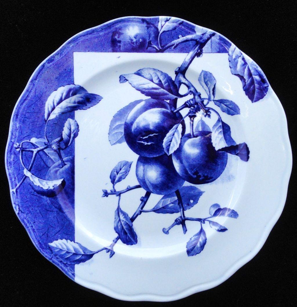 Blue Transferware Botanical Fruit Plate ~ PEACHES~ 1884
