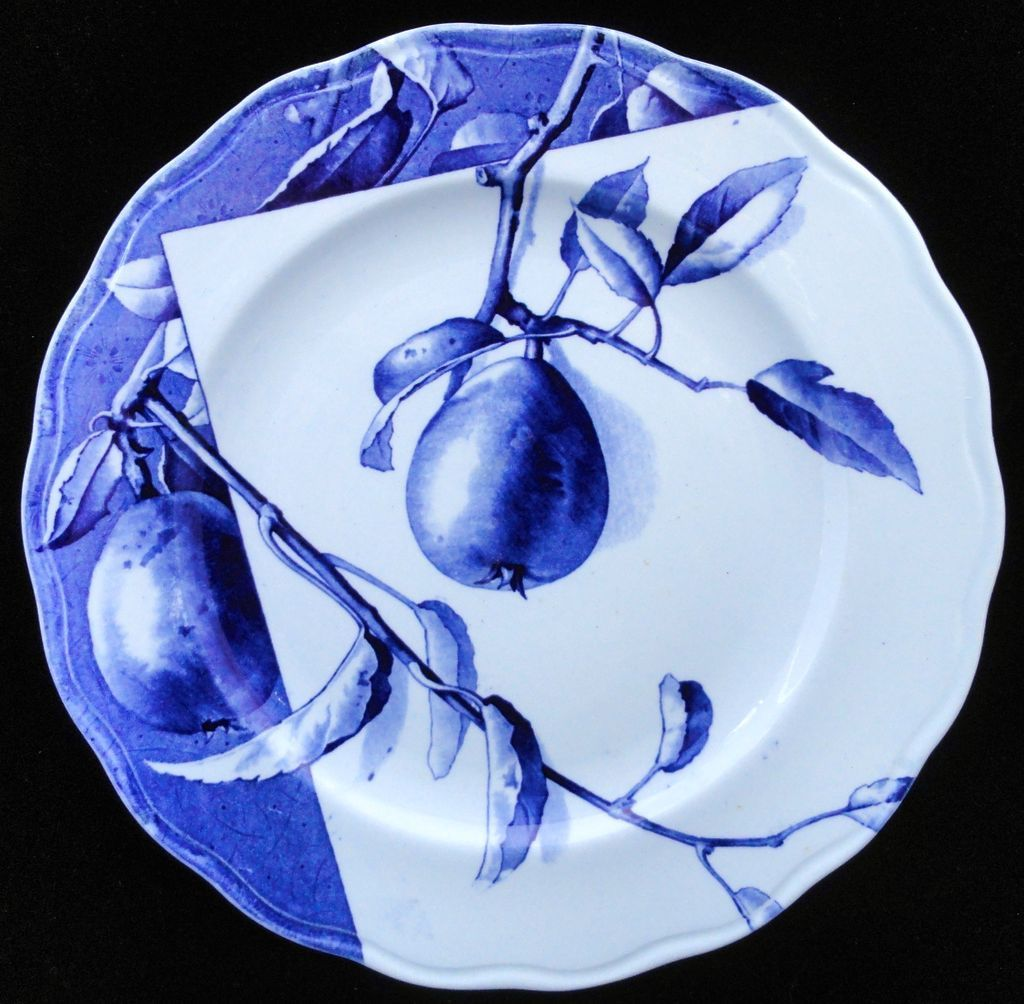 Blue Transferware Botanical Fruit Plate ~ PEARS~ 1884