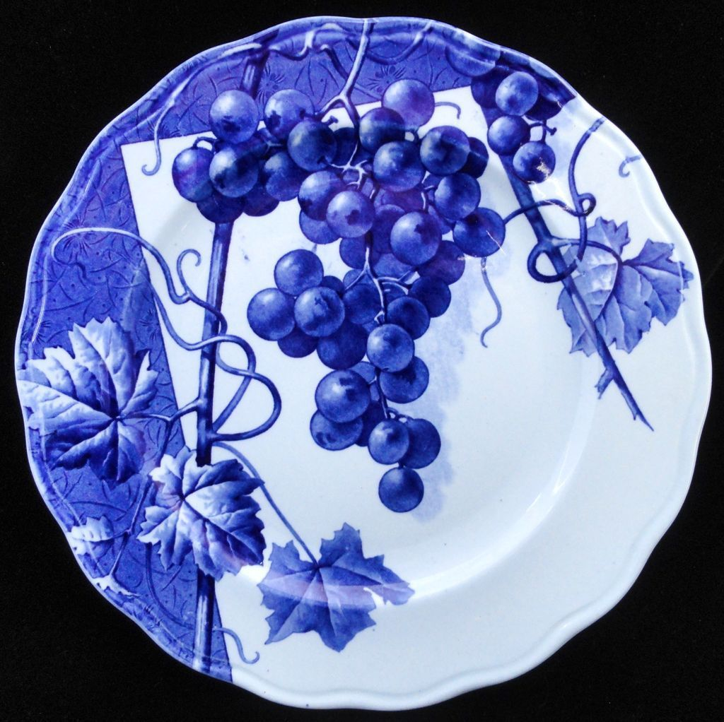 Blue Transferware Botanical Fruit Plate ~ GRAPES ~ 1884