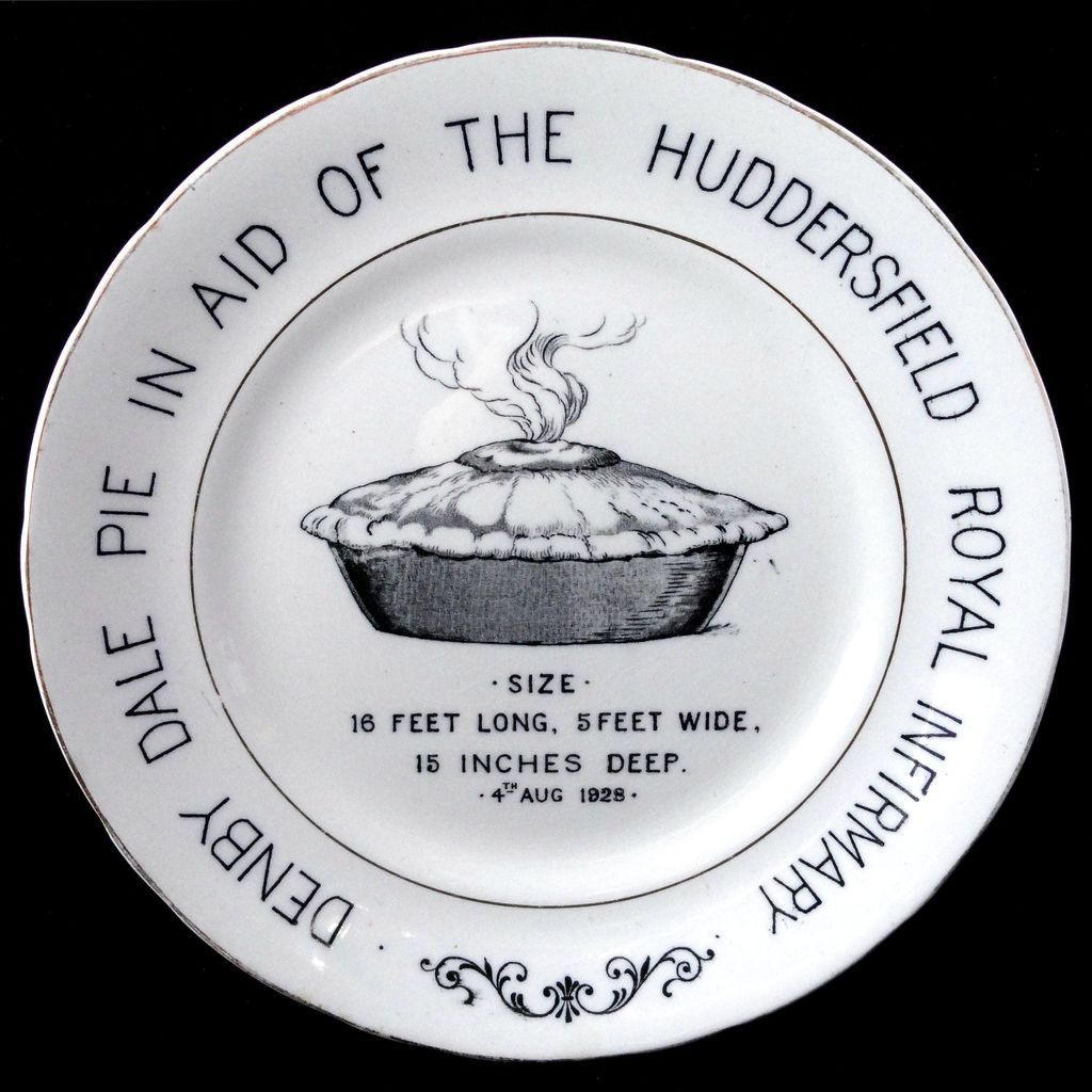 English Ironstone Commemorative Advert Denby Dale PIE Plate 1928