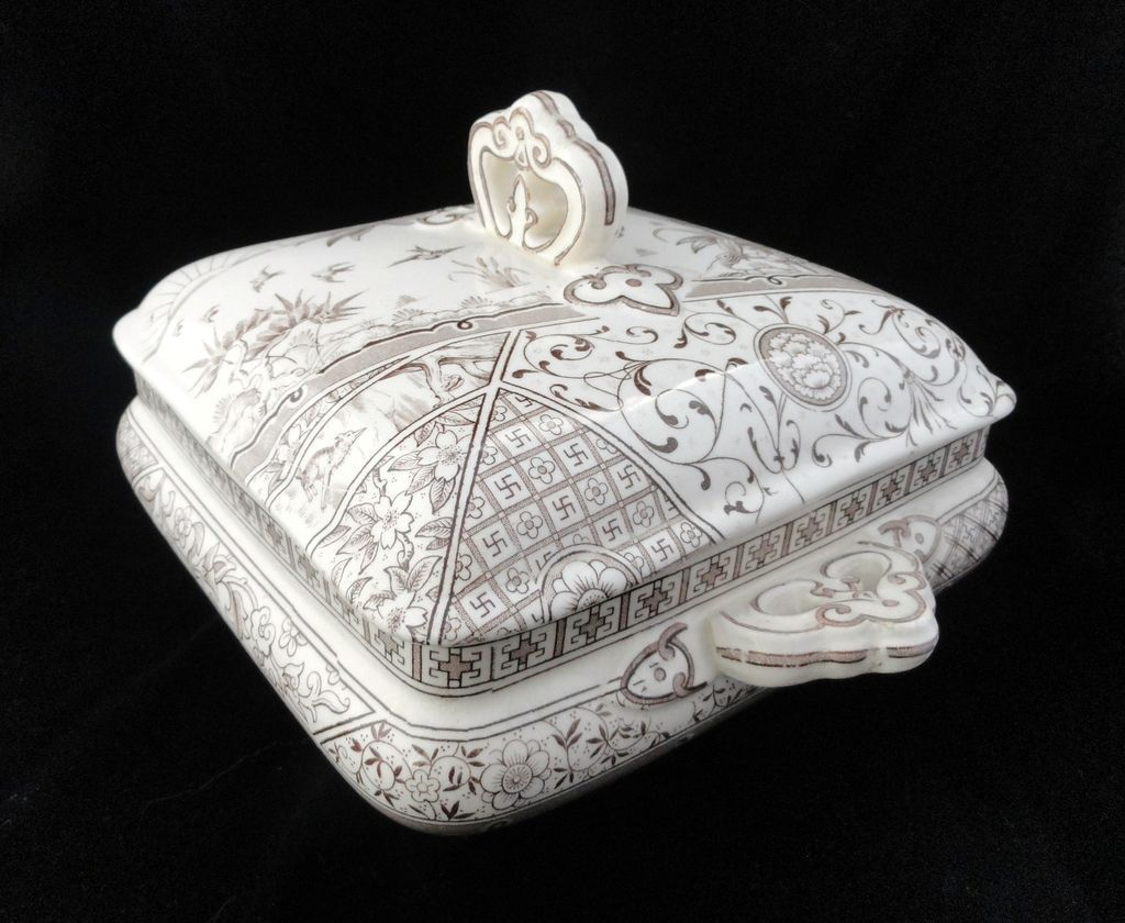 Victorian English Transferware Square Tureen ~ MELBOURNE 1883