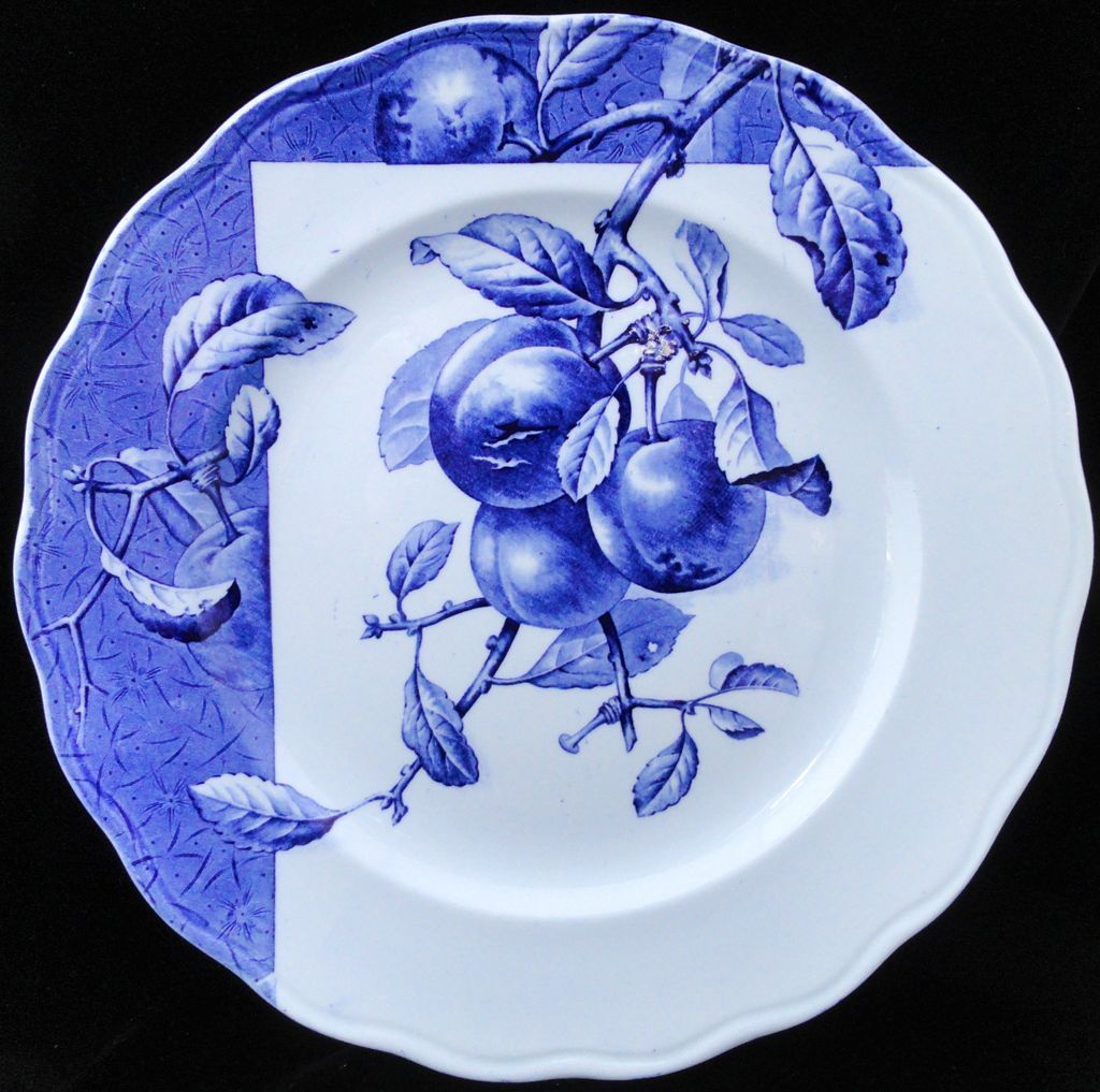 Blue Transferware Botanical Fruit Plate ~ PEACHES ~ 1884