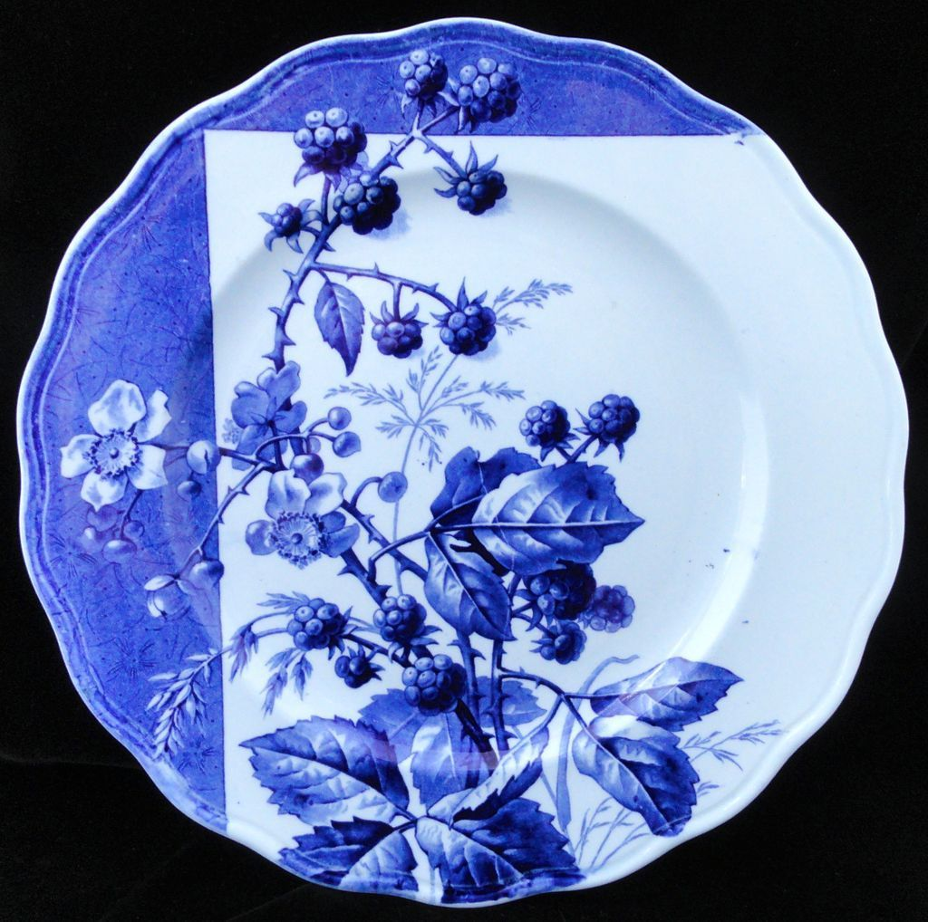 Blue Transferware Botanical Fruit Plate ~ BERRIES~ 1884