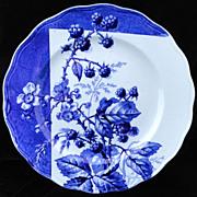 Blue Transferware Botanical Fruit Plate ~ BERRIES~ 1884