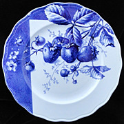 Blue Transferware Botanical Fruit Plate ~ STRAWBERRIES~ 1884