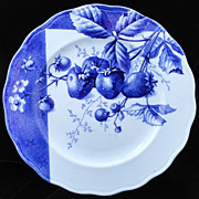 Blue Transferware Botanical Fruit Plate ~ STRAWBERRIES ~ 1884