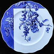 Blue Transferware Botanical Fruit Plate ~ CURRANTS ~ 1884