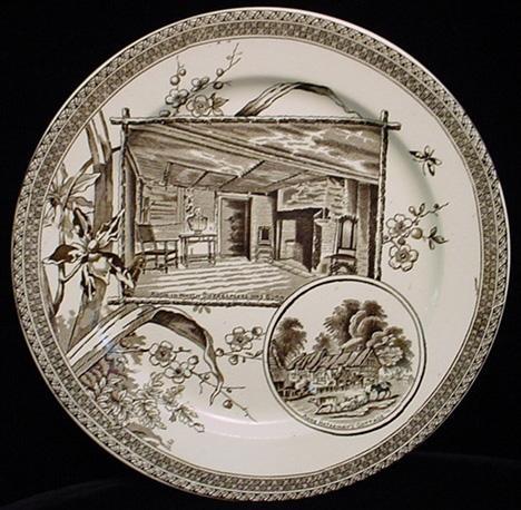 Aesthetic Movement Brown Transferware Plate ~ SHAKESPEARE 1884