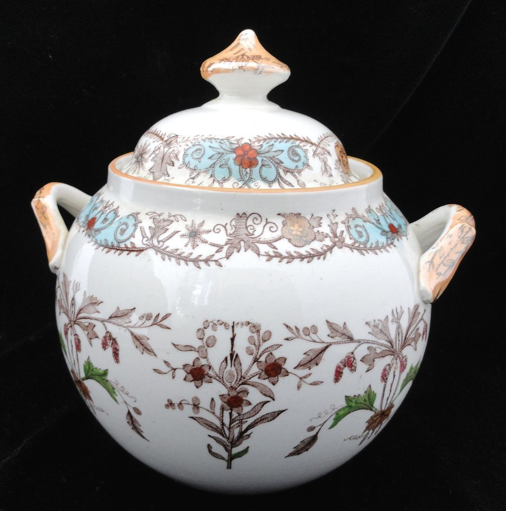 Brown Transferware Polychrome English Sugar Biscuit Pot ~ 1890