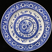 Superb Aesthetic Blue Transferware Plate ~ SUNFLOWERS 1883