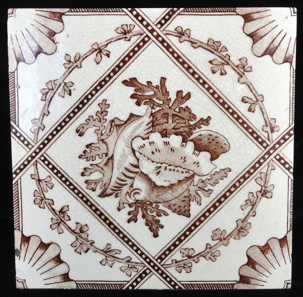 Aesthetic Brown Transferware Tile ~ SEASHELLS 1885