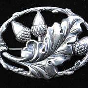 Sterling Silver Acorn Brooch ~ 1880