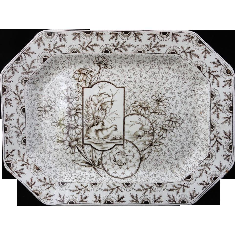 Stunning Brown Transfer English Platter ~ DEVONSHIRE 1884