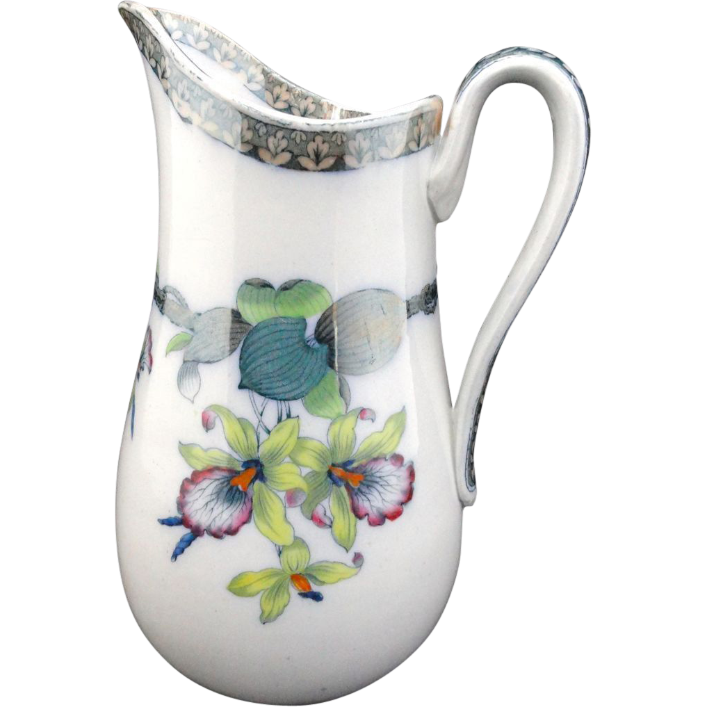 Excellent Polychrome Orchids Pitcher ~ 1860