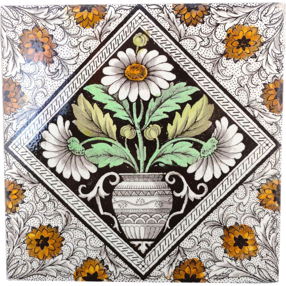 Brown Victorian Tile ~ Urn with Daisies 1880