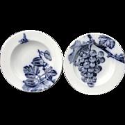 Pair of Flow Mulberry Blue Bowls ~ Fruit Botanical ~ 1885