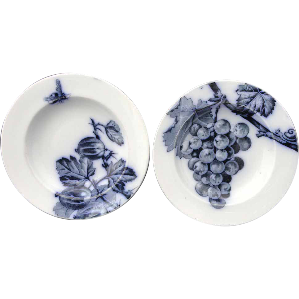 Pair of Flow Mulberry Blue Bowls ~ Fruit Botanical ~ 1885