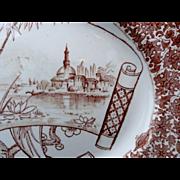 ENGLISH Aesthetic Brown Transfer Printed Platter ~ CAIRO 1885