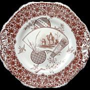 Rare Aesthetic Transfer Printed CAKE Plate ~ CAIRO 1885