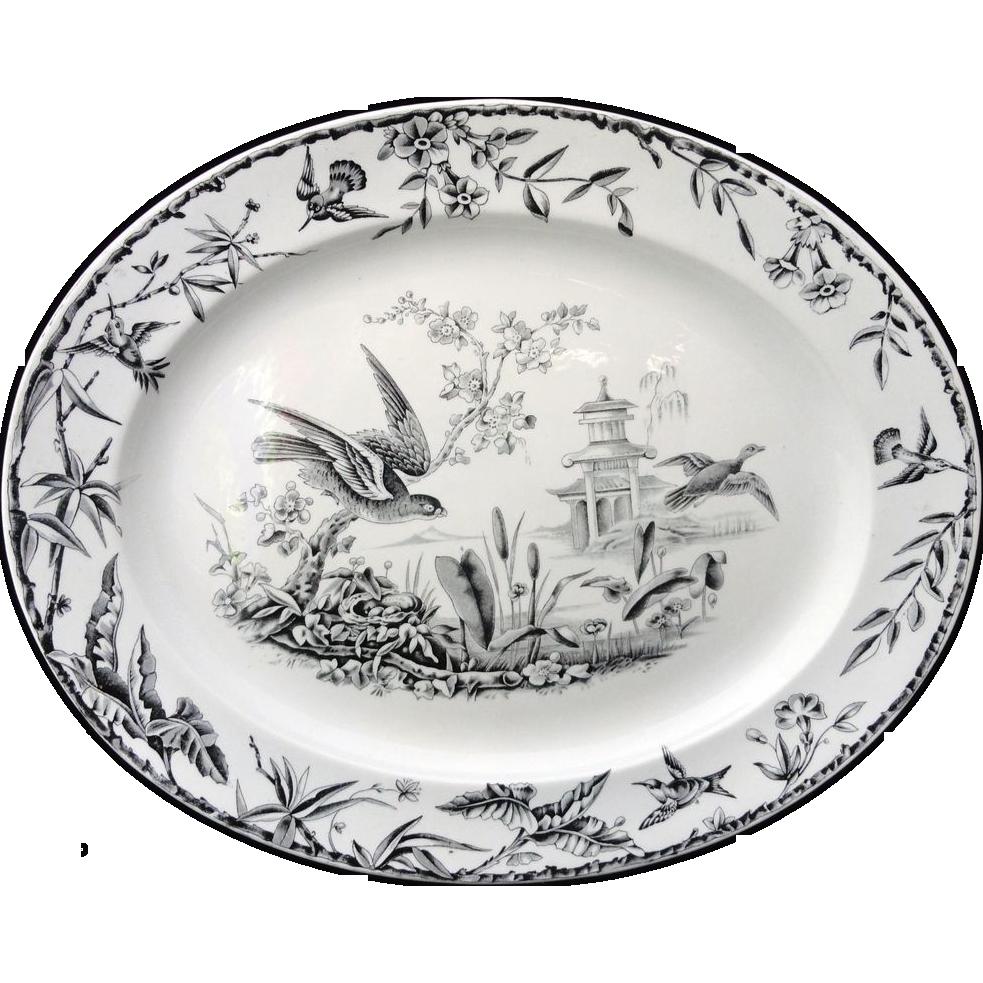 INDUS ~ Victorian Hawk and Duck Black Transferware Platter ~ 1877