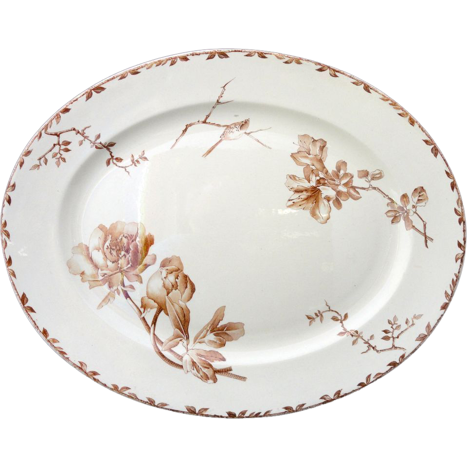 SUPERB Brown Transferware Platter ~ Peony and Azalea ~ 1880