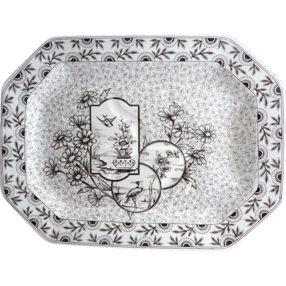 Gorgeous Victorian Transferware Well & Tree Platter ~ Devonshire 1884