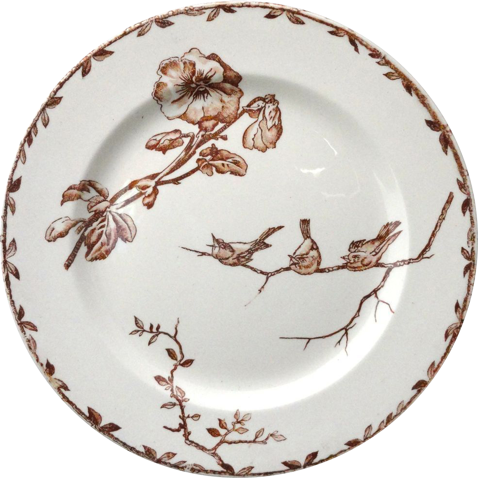 SUPERB Brown Transferware Plate ~ PANSIES 1880