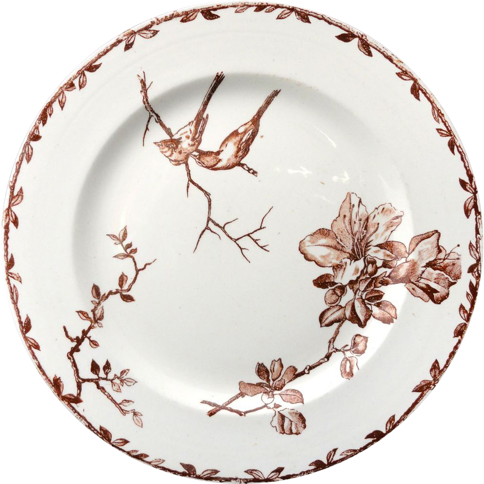 Superb Brown Transferware Plate ~ SPRING AZALEAS 1880