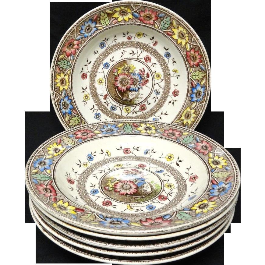 Six Aesthetic Brown Transferware Soup Plates ~ SUNFLOWERS 1883