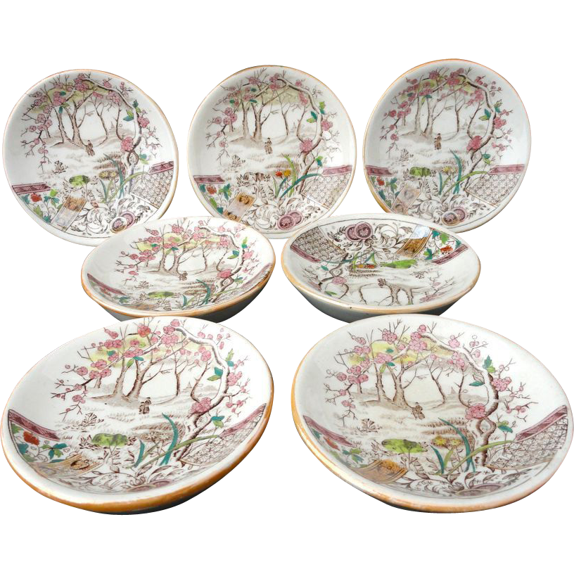 Set of 7 Aesthetic Staffordshire Antique Butter Pats ~ YOSEMITE 1883