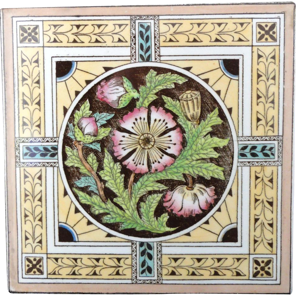 Brown Victorian Tile ~ Thistle 1880
