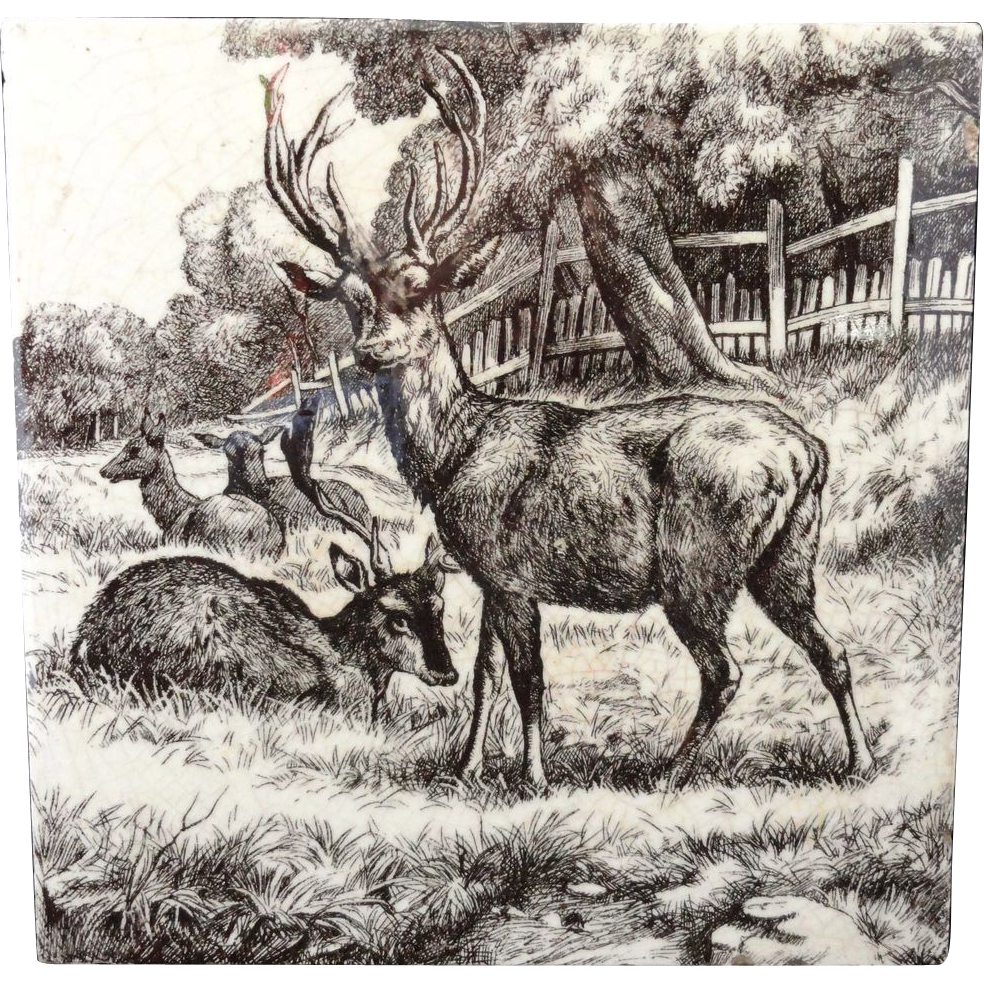 William Wise Transfer Printed Minton Tile ~ Deer 1879