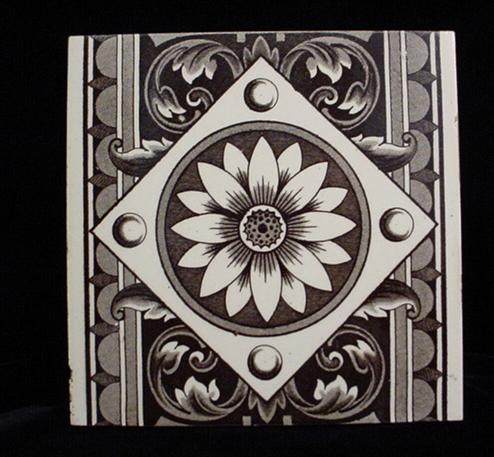 Brown Aesthetic Transferware Tile ~ SUNFLOWER 1885