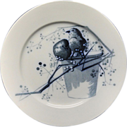 Pierre Mallet Blue Transferware ORNITHOLOGY Plate ~ 1870