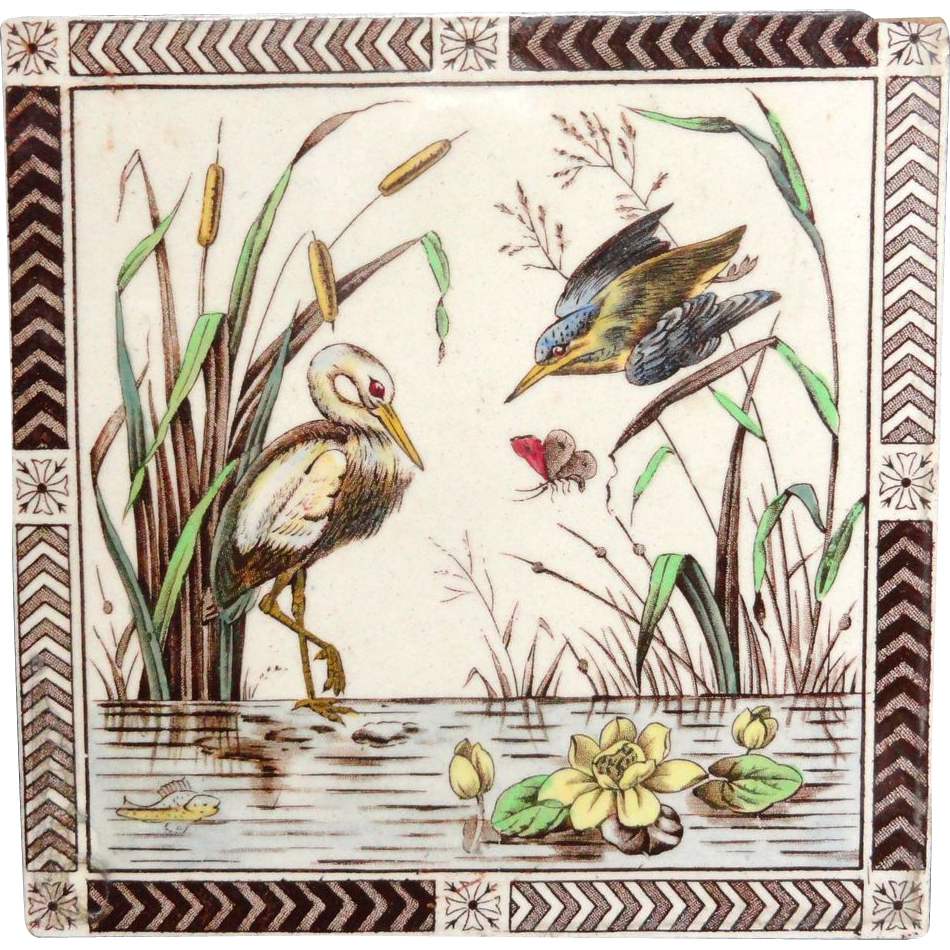 Aesthetic Movement Polychrome Tile ~ KINGFISHER 1885