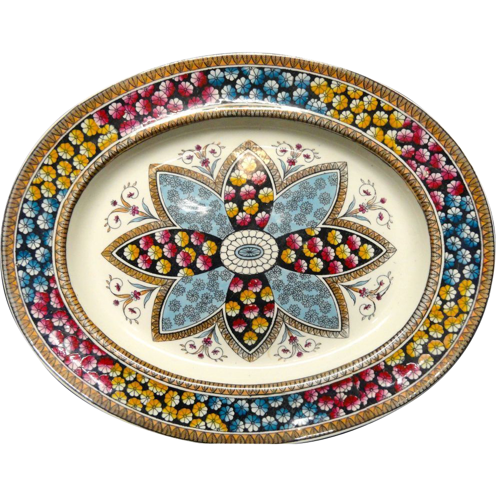 Victorian Aesthetic Movement Era Platter ~ PRIMROSE 1881