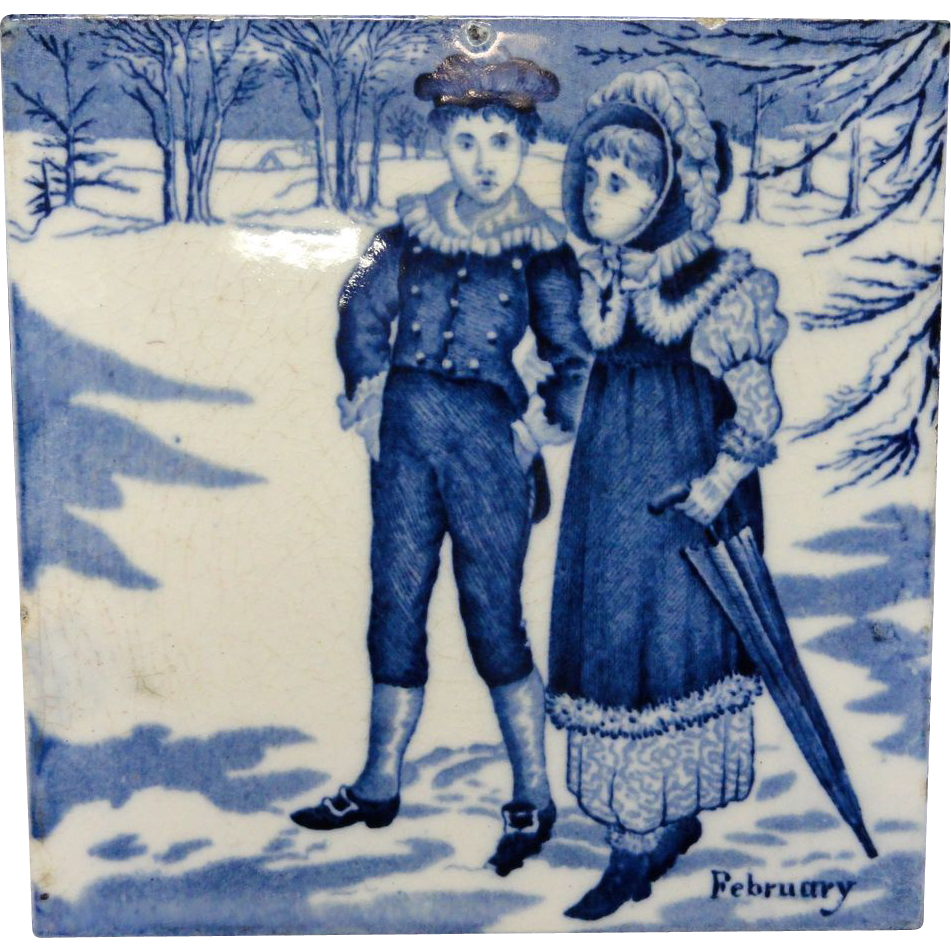 Tile ~ Wedgewood Month Helen Miles Series FEBRUARY ~ 1879