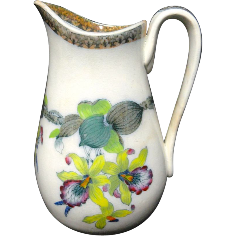 Excellent Polychrome Orchids Medium Pitcher ~ 1860